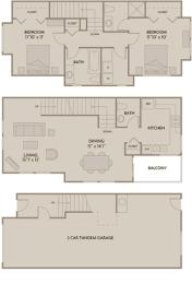Floor Plan  2 bed 2.5 Bath 1375 square feet floor plan A